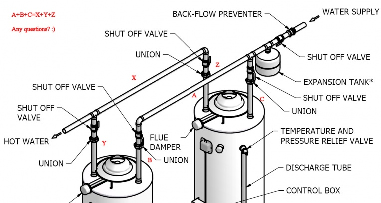 dual water heater piping diagram